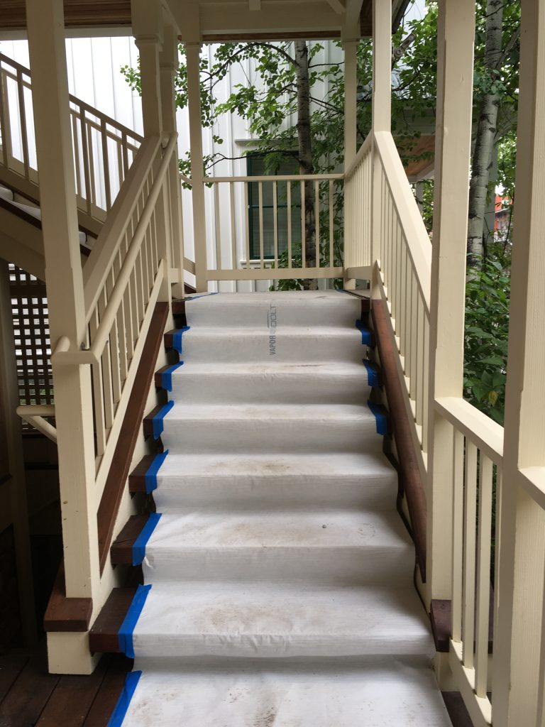 surface liner on stairs